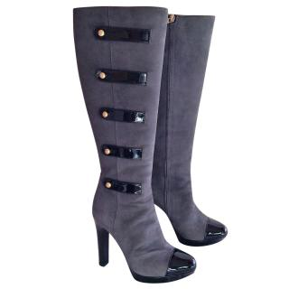 Fendi Suede and Patent Leather Knee High Boots