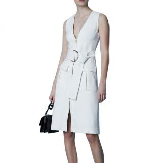 Diane Von Furstenberg white sleevless zip dress.