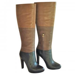 Fendi Knee-High Colour Block Leather Boots