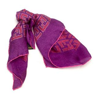 Fendi Purple Silk Monogram Foulard