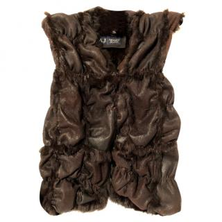 Armani Jeans Chocolate Brown Suede Rabbit Fur Gilet