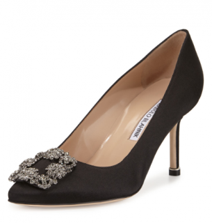 Manolo Blahnik Black Satin 70mm Hangisi Pumps