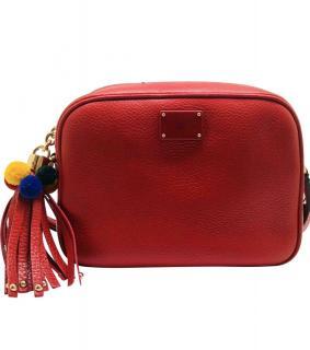 Dolce & Gabbana red leather Sicily Pom Pom bag