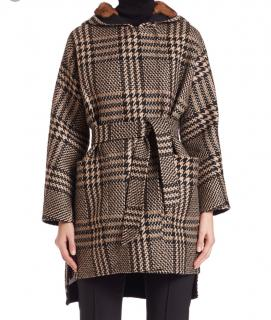 MaxMara Houndstooth alpaca-wool blend and mink fur reversible coat
