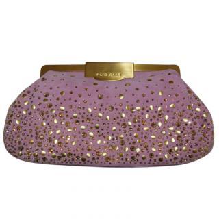 Elie Saab Embellished Suede Pink Clutch