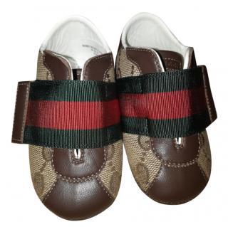 Gucci monogram web baby shoes
