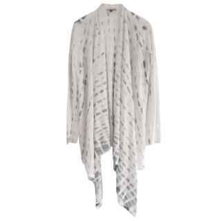 Eileen Fisher Alpaca/Silk Grey & White Print Draped Cardigan