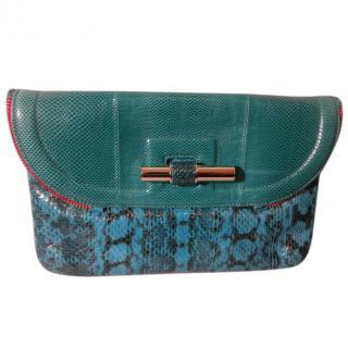 New Jimmy Choo 'Jasmine' Elaphe Snakeskin Turquoise Jade Clutch Bag