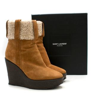 Saint Laurent Tan Shearling Wedge Boots
