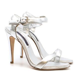 Ralph Lauren Collection Silver Metallic Leather Heeled Sandals
