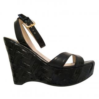 Prada black patent wedge sandals 36.5