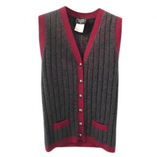 Chanel Knit Cashmere Sleeveless Cardigan