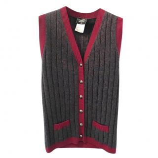 Chanel Knit Cashmere Sleeveless Cardigan