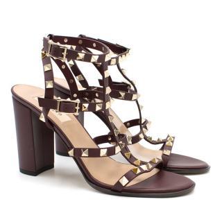 Valentino Wine Rockstud Sandals