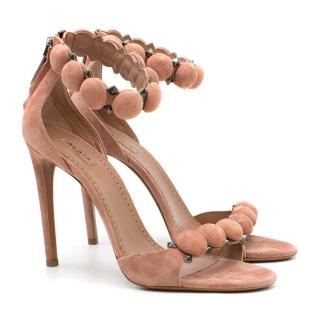 Alaia Pink Bombe 110 Studded Suede Sandals