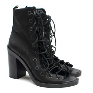 Ann Demeulemeester Lace-up Leather Open-toe Ankle Boots