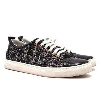 Lanvin Tweed & Patent Cap-Toe Sneakers