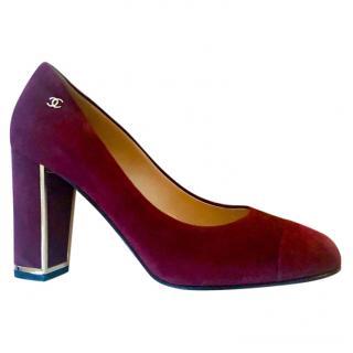 Chanel burgundy suede block heeled pumps