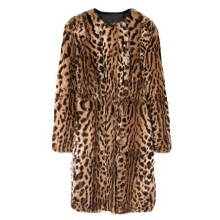 Gerard Darel Leopard-Print Rabbit Fur Jacket