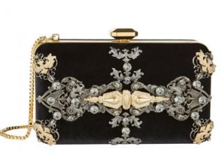 Elie Saab Velvet Embellished Box Clutch