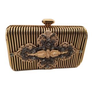 Elie Saab Gold Striped Embellished Box Clutch