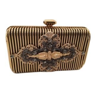 Elie Saab Gold Striped Embellished Box Clutch