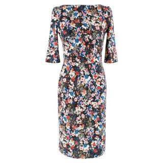 Erdem Black Floral Fitted Dress