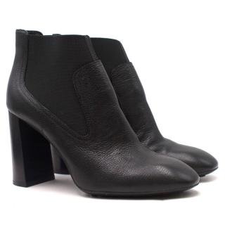 Tods Black Leather Elasticated High-heeled Ankle Boots