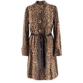Gerard Darel Leopard Print Belted Fleece Coat