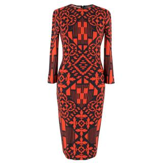 Alexander McQueen Red and Black Abstract Print Dress