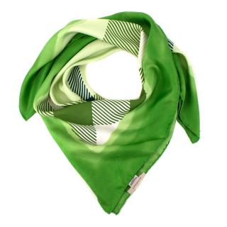 Burberry Green Check Placement Patterned Silk Square Scarf