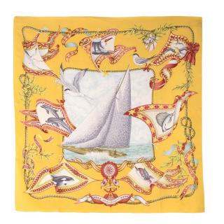 Salvatore Ferragamo Nautical Ship Patterned Silk Square Scarf