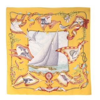Salvatore Ferragamo Nautical Ship Patterned Silk Square Scarf