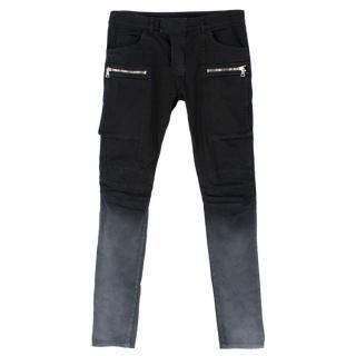 Balmain Black Ombre Biker Jeans