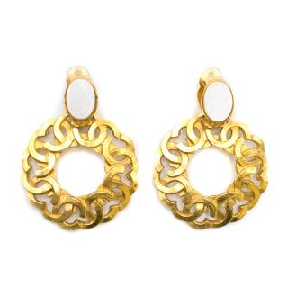 Chanel Vintage Clip-on Interlocking CC Hoop Pendant Earrings