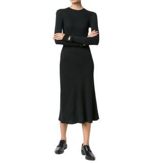 Helmut Lang Detached Cuff Wool-Blend Ribbed Knit Dress