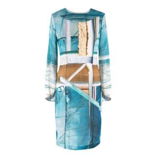 Hussein Chalayan Blue Beach Print Dress