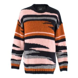 Blood Brother Multi-colour Tiger Stripe Wool & Mohair-blend Jumper