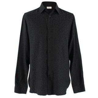 Saint Laurent Black Silk Leopard Print Shirt