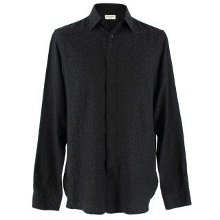 Saint Laurent Black Silk Leopard Print Shirt