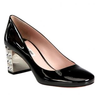Miu Miu Patent Black Crystal Heel Pumps