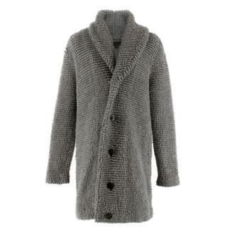 Burberry Grey Wool Chunky Knit Cardigan