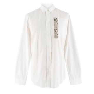 OAMC White Snakeskin-effect Patch-Pocket Shirt