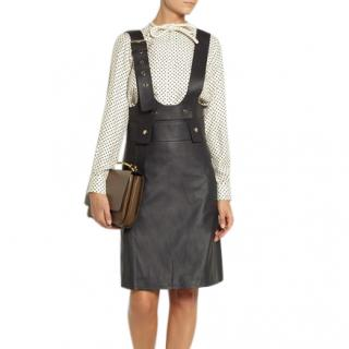 Chloe leather pinafore overall skirt