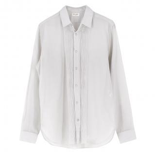 Saint Laurent Pin Tuck Front Light Grey Cotton Shirt