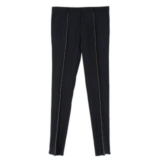 Saint Laurent Black Wool Metallic Pinstripe Slim Leg Trousers
