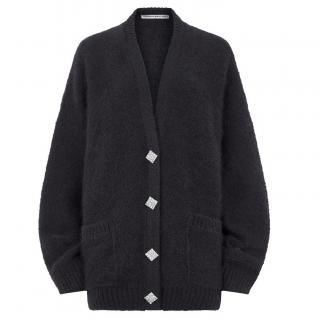 Alessandra Rich crystal buttons mohair cardigan