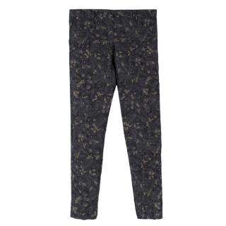 Dries Van Noten Black Floral Trousers