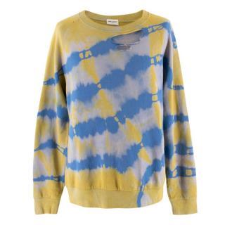 Saint Laurent Tie Die Distressed Sweater