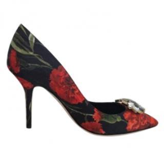 Dolce & Gabbana Red Floral Embellished Pumps